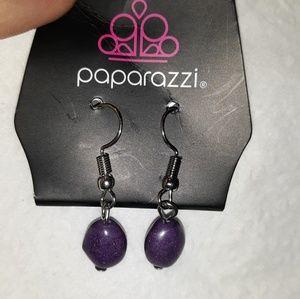 Paparazzi purple bead dangle earrings Hypoallergen